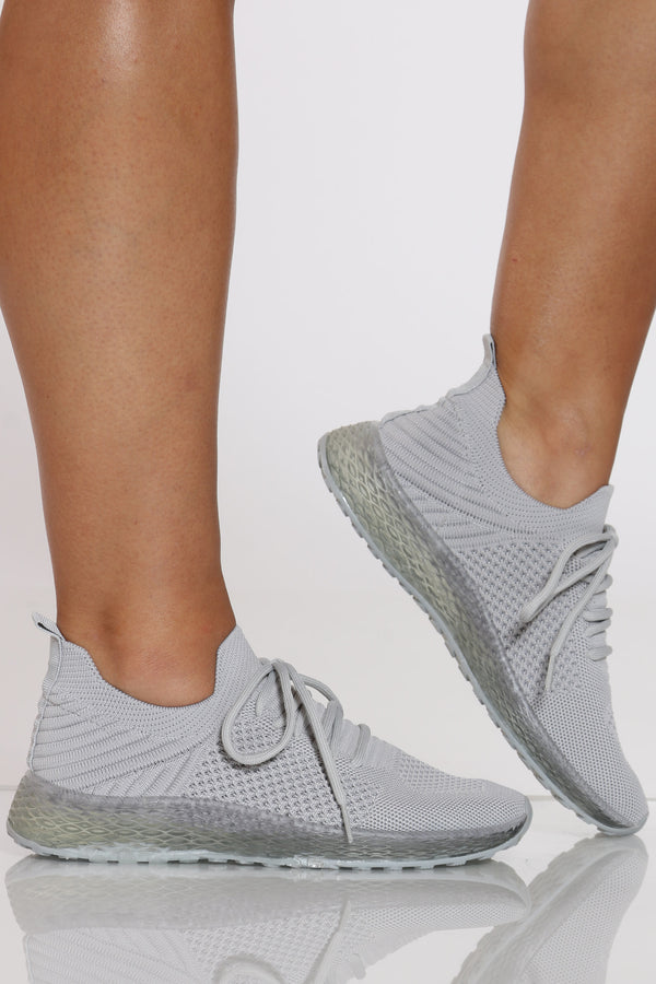 Women's Fly Net Clear Bottom Sneaker - Grey-VIM.COM
