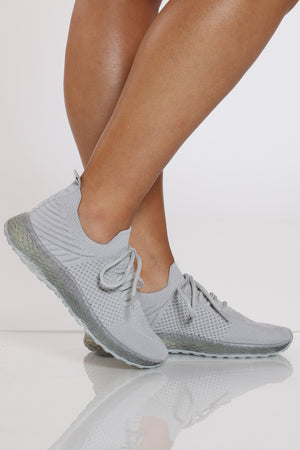Women's Fly Net Clear Bottom Sneaker - Grey