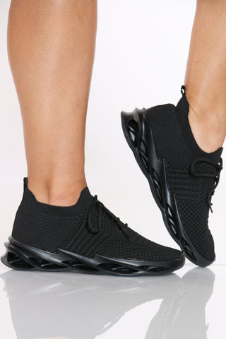 Women's Twisted Outsole Fly Net Sneaker - Black-VIM.COM