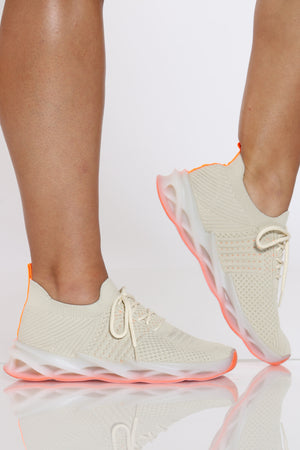 Women's Twisted Outsole Fly Net Sneaker - Beige-VIM.COM