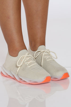 Women's Twisted Outsole Fly Net Sneaker - Beige