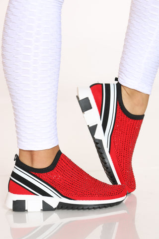 Women's Rhinestone Slip On Fashion Sneaker - Red-VIM.COM