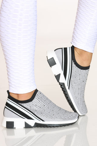 Women's Rhinestone Slip On Fashion Sneaker - Grey-VIM.COM