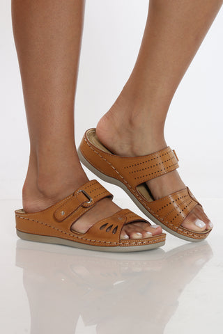 Women's Bonita Slip On Comfort Sandal - Tan-VIM.COM