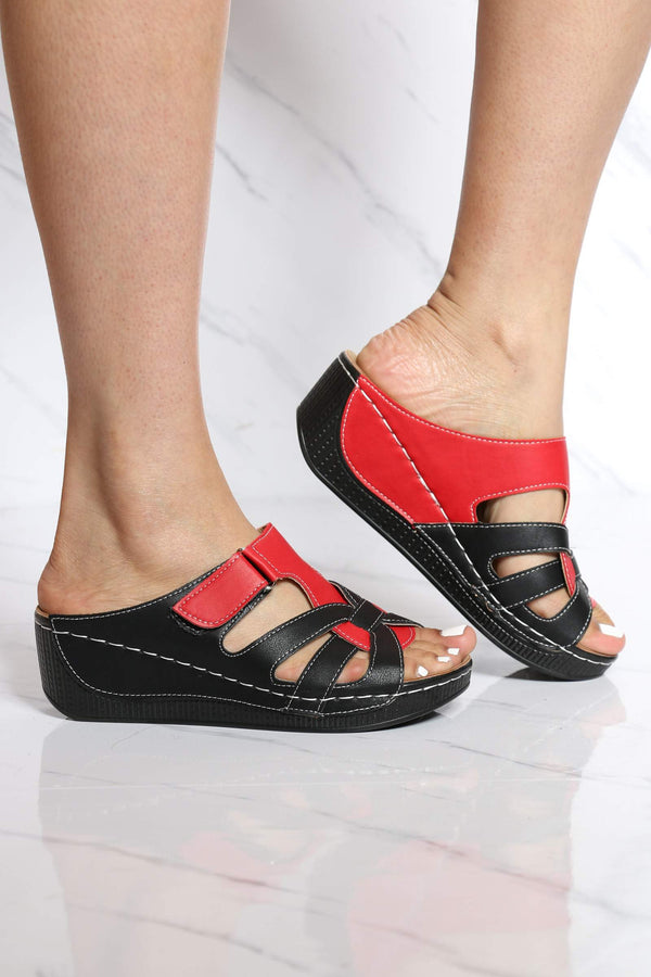 Women's Amanda Velcro Wedge Sandal - Black Red-VIM.COM