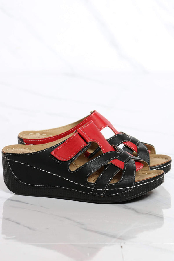 Women's Amanda Velcro Wedge Sandal - Black Red