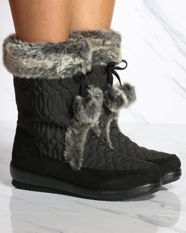 Women's Becky Quilted Pompom Boot - Black