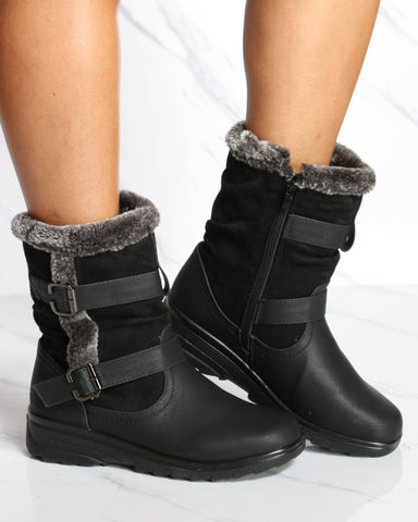VIM VIXEN Wallace 2 Buckle Water Resistant Snow Boot - Black - ShopVimVixen.com