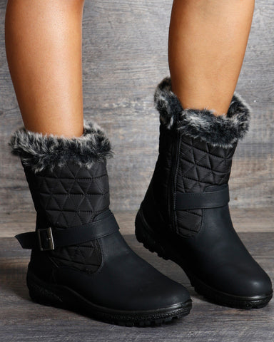 VIM VIXEN Chloe Quilted Fur Top Water Resistance Boot - Black - ShopVimVixen.com