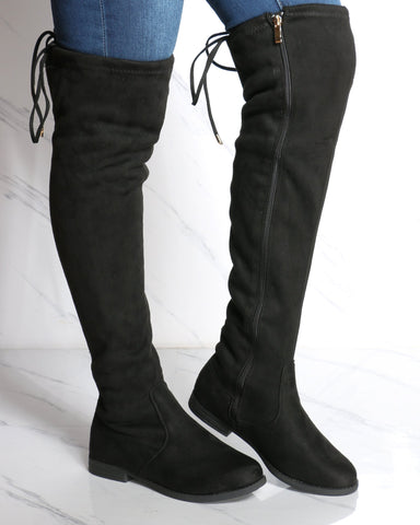 Women's Josephina Over The Knee Boot - Black-VIM.COM