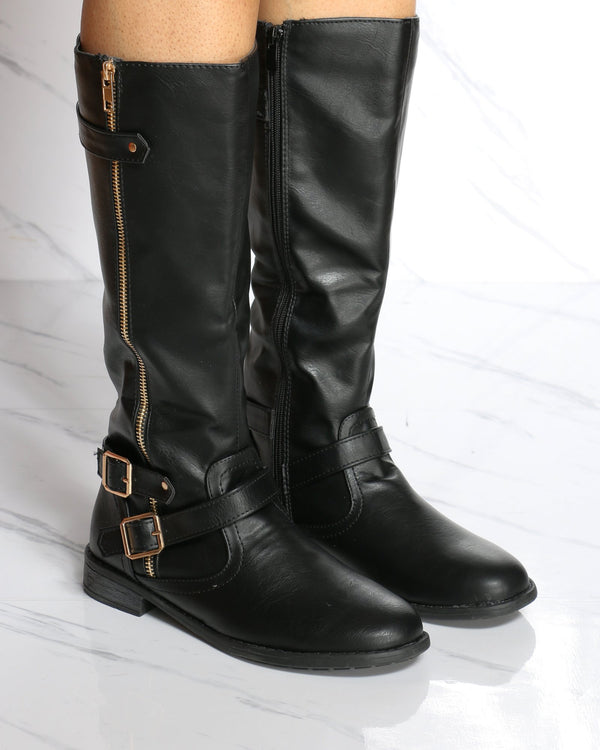 Women's Justina 3 Buckle Riding Boot - Black