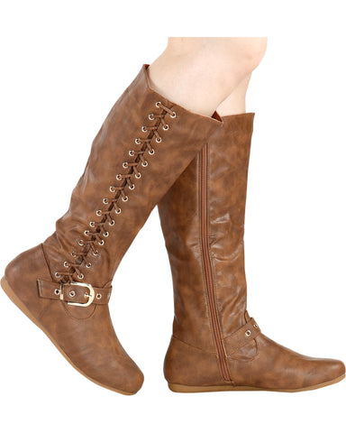 VIM VIXEN Rachel Gold Buckle Boot - Tan - ShopVimVixen.com