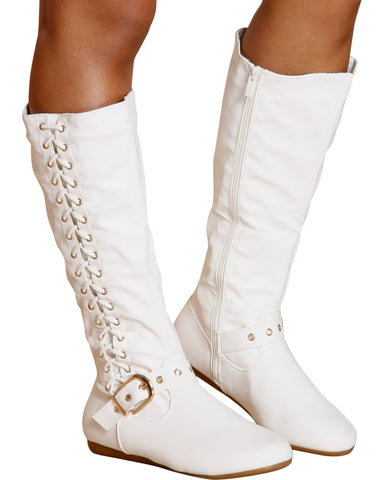 VIM VIXEN Rachel Gold Buckle Boot - White - ShopVimVixen.com