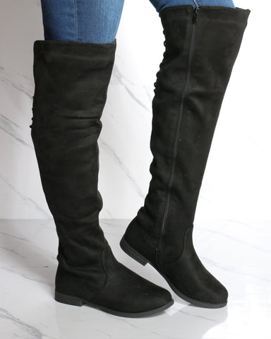 Women's Mary Over The Knee Suede Boot - Black