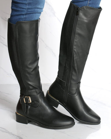 Women's Olivia Gold Buckle Knee High Boot - Black