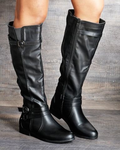 VIM VIXEN Lucy Two Silver Buckle Riding Boot - Black - ShopVimVixen.com