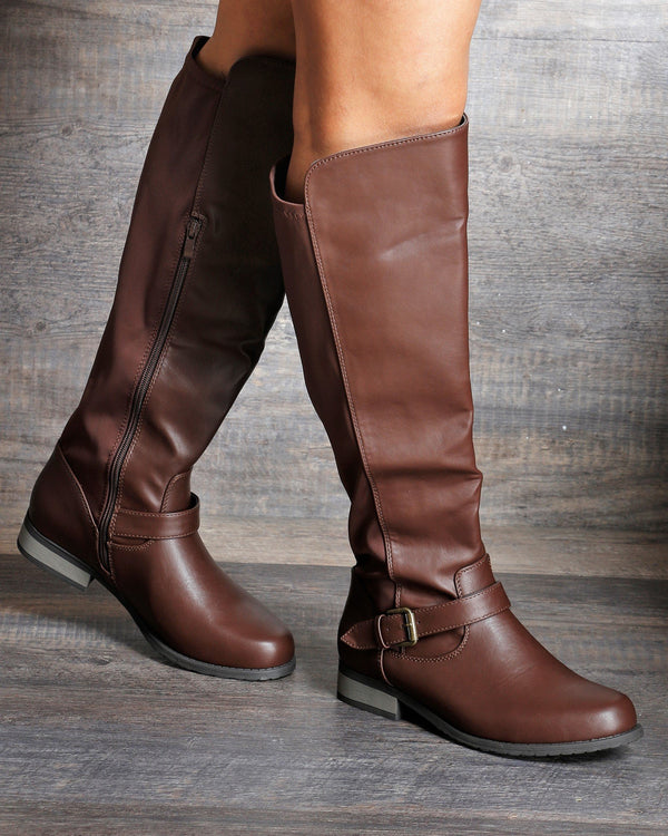 VIM VIXEN Rita Fabric Elastic Riding Boot - Brown - ShopVimVixen.com
