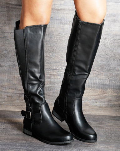 VIM VIXEN Ruby Side Elastic Side Zipper Boot - Black - ShopVimVixen.com