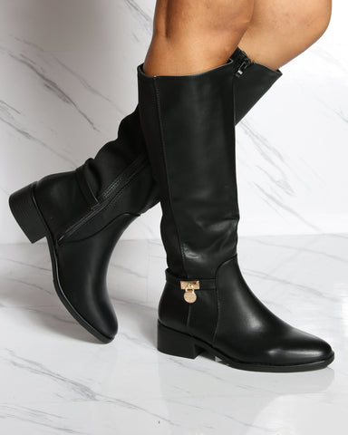 VIM VIXEN Back Elastic Riding Boot - Black - ShopVimVixen.com