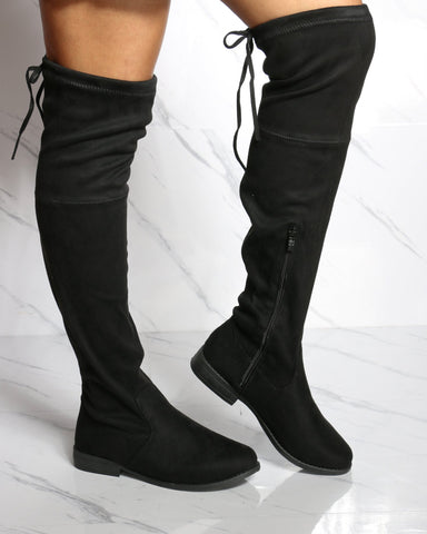 Women's Trina Over The Knee Boot - Black-VIM.COM