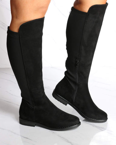 Women's Amy Wide Calf Knee High Boot - Black-VIM.COM