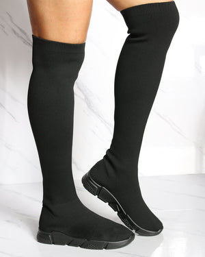 VIM VIXEN Over The Knee Sock Sneaker Boot - Black - ShopVimVixen.com