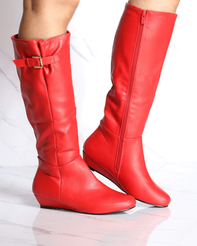 Women's Charelene Kitten Wedge Boot - Red