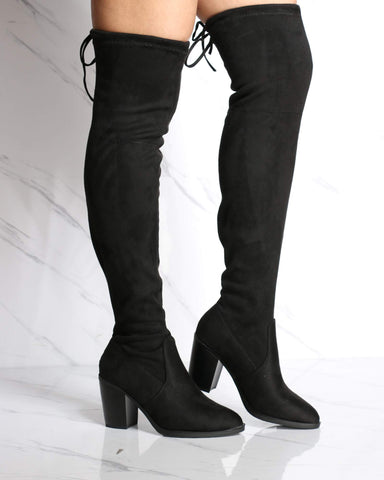 Women's Peyton Over The Knee Heel Boot - Black-VIM.COM