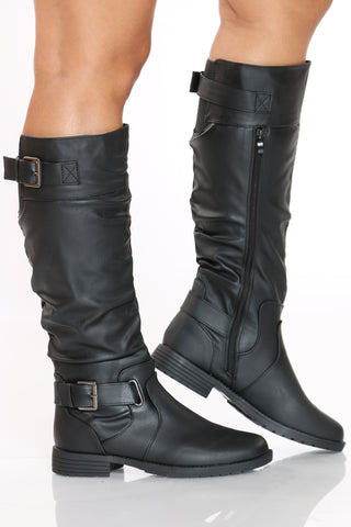 Women's 2 Silver Buckles Boot - Black-VIM.COM