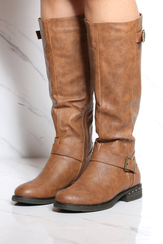 Women's 2 Buckle Ridding Boot - Tan