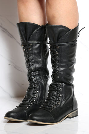 Women's Lacy Up Ridding Boot - Black-VIM.COM