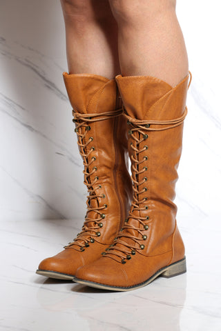 Women's Lacy Up Ridding Boot - Tan-VIM.COM