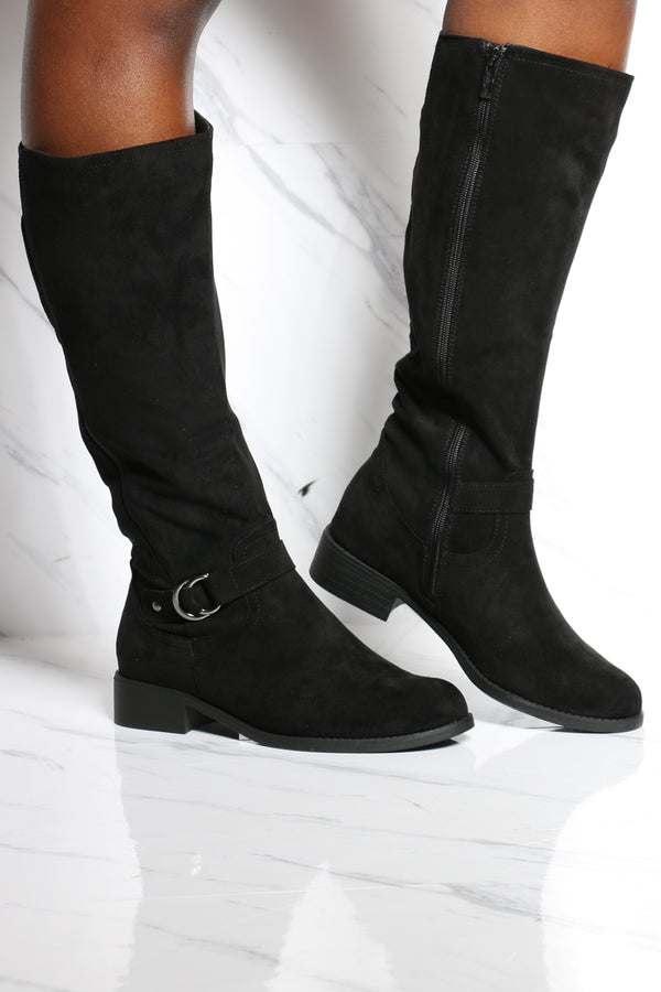 Women's Elastic Buckle Ridding Boot - Black-VIM.COM