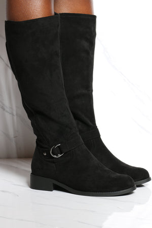 Women's Elastic Buckle Ridding Boot - Black