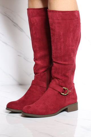 Women's Elastic Buckle Ridding Boot - Burgundy