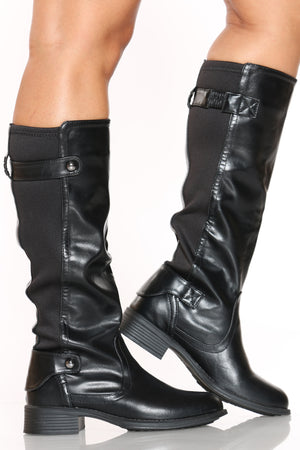 Women's Elastic Riding Boot - Black-VIM.COM