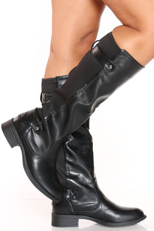 Women's Elastic Riding Boot - Black