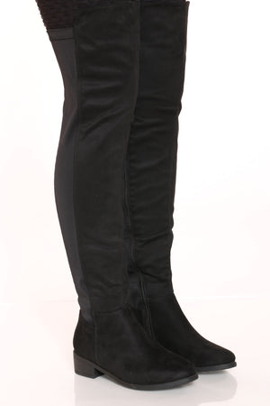 Women's Half Over The Knee Pu Boot - Black