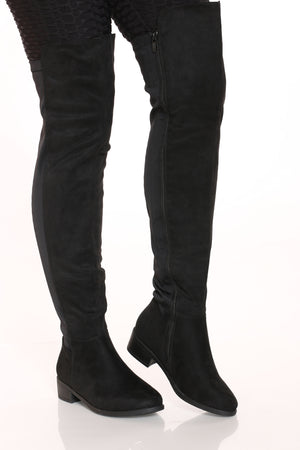 Women's Half Over The Knee Boot - Black Pu-VIM.COM