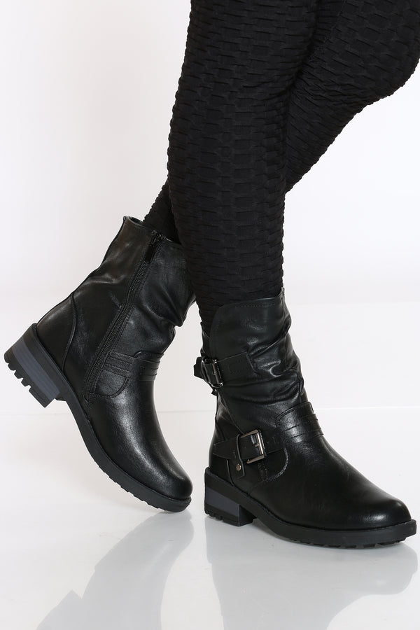 Women's Gold Zipper Over The Knee BooT - Black-VIM.COM