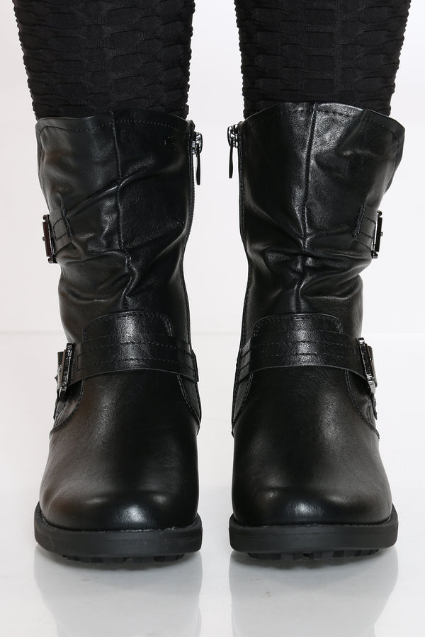 Women's Gold Zipper Boot - Black