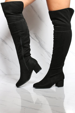 Women's Heel Over The Knee Boot - Black-VIM.COM