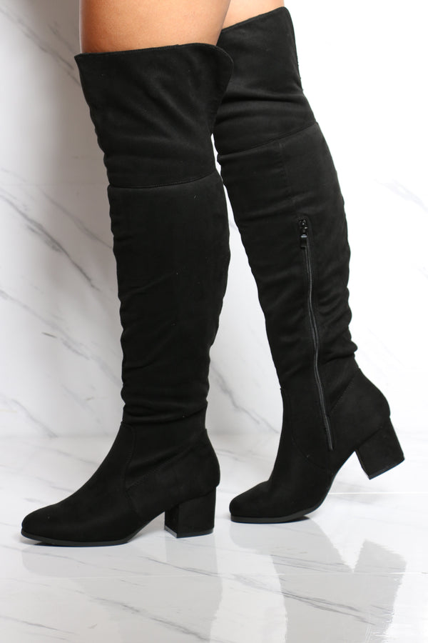 Women's Heel Over The Knee Boot - Black