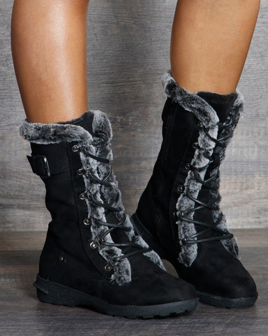VIM VIXEN Aura Fur Lining Winter Boot - Black - ShopVimVixen.com