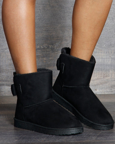 VIM VIXEN Leena Back Bow Winter Boot - Black - ShopVimVixen.com