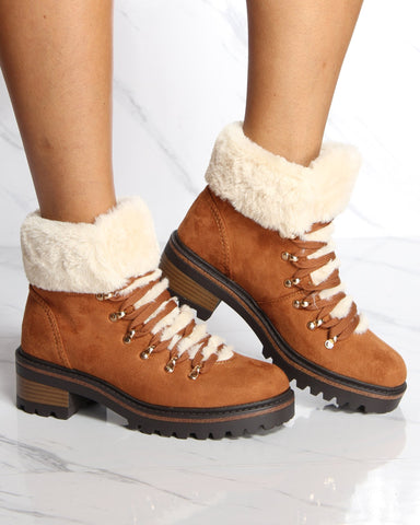 VIM VIXEN Coop Fur Lining Lace Up Hiker Boot - Dark Camel - ShopVimVixen.com
