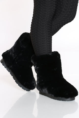 Women's Faux Fur Shaft Boot - Black-VIM.COM