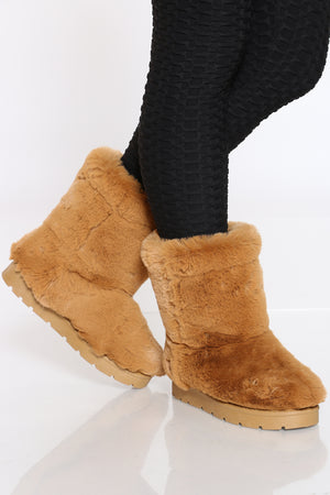 Women's Faux Fur Shaft Boot - Dark Camel-VIM.COM