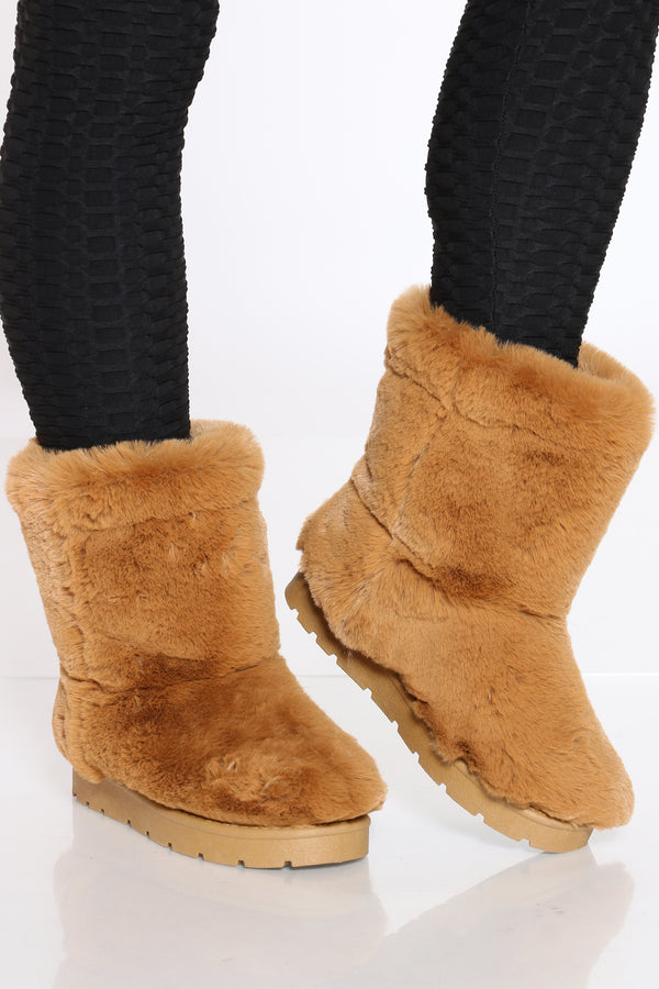 Women's Faux Fur Shaft Boot - Dark Camel
