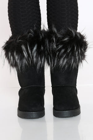 Women's Faux Fur Top Cold Weather Boot - Black